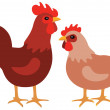 Hen and rooster — Stock Vector #40770011