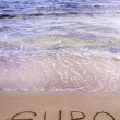 Stock Photo: Euro word written in sand on beach