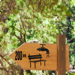 Stock Photo: Drinking water refill and rest spot signs on wooden board