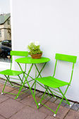 Bright green Cafe Table and Chairs at Reykjavik Iceland — Stock Photo
