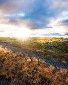 Vacker solnedgång i island — Stockfoto
