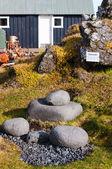 Isländska fyra välkända lyft-stenar, som fiskarna testade deras styrka. — Stockfoto