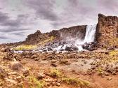 Oxarafoss vodopád, thingvellir národní park, island — Stock fotografie