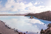 Blue Lagoon - famous Icelandic spa and Geothermal Power plant (panoramic picture) — Stock Photo