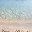 All I need message written on white sand, with tropical sea waves in background — Stock Photo #40010801