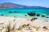 Elafonissi beach, with pinkish white sand and turquoise water, island of Crete, Greece — Stock Photo