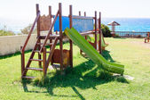 Empty seaside playground, Crete island, Greece — Stock Photo