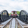 "Kanchanaburi, Thailand - May 23, 2014: Train on the bridge over river Kwai in Kanchanaburi province, Thailand.The bridge is famous due to the movie ""The Bridge on the River Kwai"". — Stock Photo #48478529"