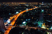 Bangkok, Thailand - May 24, 2014: Night view over Bangkok city, Thailand.Bangkok is the capital and the most populous city of Thailand with a population of over eight million. — Stock Photo