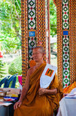 Ratchaburi, Thailand - May 24, 2014: Buddhist monk poses for a photo at buddhist temple from Damnoen Saduak Floating Market, Thailand — Stock Photo