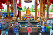 Ratchaburi, Thailand - May 24, 2014: Shrine in buddhist temple at Damnoen Saduak Floating Market, Thailand — Stock Photo