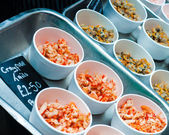 Mixed Seafood raw meat in British market — Stock Photo
