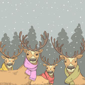 Deers on the background of the winter forest — Stock Vector