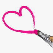 Vector paintbrush paints heart — Stock Vector