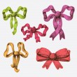 Collection of hand drawn festive bows — Vector de stock
