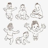 Set of hand drawn babies — Stock Vector