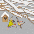 Birds on a winter backgrounds — Stockvector #17645357