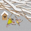 Birds on a winter backgrounds — Vector de stock #17645357