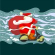 Christmas delivery. Santa Claus on a moped — Stock Vector