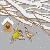 Fåglar på en vinter bakgrunder — Stockvektor