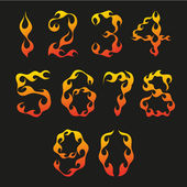 Set of figures in the shape of fire — Stock Vector