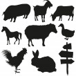 Set of farm animals isolated on a white backgrounds - Stock Vector