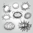 Boom. Comic book explosion elements set — Stock Vector