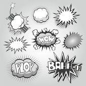 Boom. Comic book explosion elements set — Stock Vector