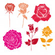 Hand drawn rose flowers vector set — Stock Vector #27629619