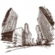 Hand drawn cityscape, vector illustration — Stock Vector