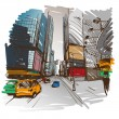 Stock Vector: Hand drawn cityscape, vector illustration