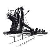 Hand drawn city, vector illustration — Stock Vector