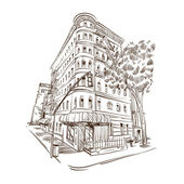Hand drawn building, vector illustration — Stock Vector