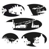 Village emblems set, vector illustration — Stock Vector