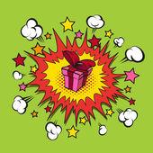 Boom present surprise, vector illustration — Stock Vector