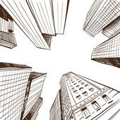 Hand drawn cityscape, vector illustration — Stock Vector