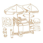 Street food. Hot dog stand hand drawn, vector illustration — Stock Vector