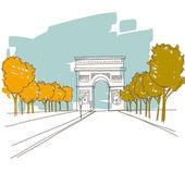 Hand drawn Triumphal arch. Paris, vector illustration — Stock Vector