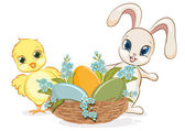 Easter chick and bunny. — Stock Vector