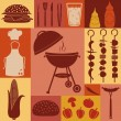 Barbecue and picnic icons set. — Stock Vector #26128697