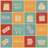 Alışveriş simgeleri. — Stok Vektör