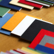 Stock Photo: Art and Craft materials - Focusing on arts and crafts - Color Samples / Tiles.