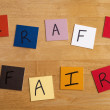'Craft Fair' in letters / words on tiles for arts and crafts, craft fairs, home business, second incomes, cottage industry. - Stock Photo