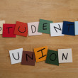 Stock Photo: STUDENTS' UNION' sign / poster for Education, Teaching, College, Editorial.