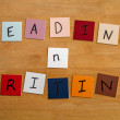 'Reading and Writing' as a sign for Education, Teachers, World Book Day, Editorial. — Stok fotoğraf