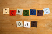 SCHOOLS OUT sign for Educational, Editorial, Teaching, Students. — Stock Photo
