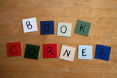 BOOK CORNER sign for Schools, Education, Libraries, — Stock Photo