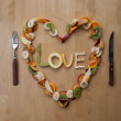 Stock Photo: VALENTINE LOVE HEART - Fruity, Fresh, Healthy! 5-a-day!