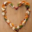 Fruit Heart - healthy eating! Valentines Day or Fresh 5 A Day Vi - Stock Photo