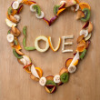VALENTINE LOVE HEART - Fruity, Fresh, Healthy! 5-a-day! - Stock Photo